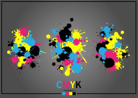 wet paint: Abstract CMYK Illustration