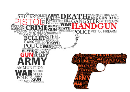 political and social issues: typographic handgun