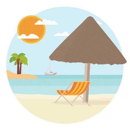 chaise: Chaise lounge on a beach