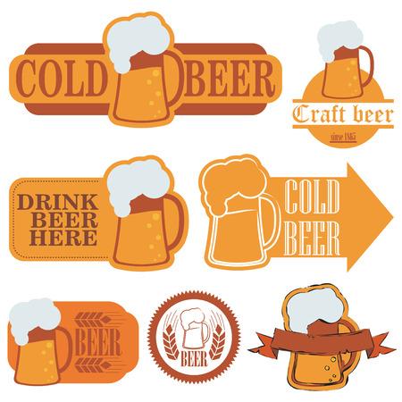 Cold beer grunge labels Vector