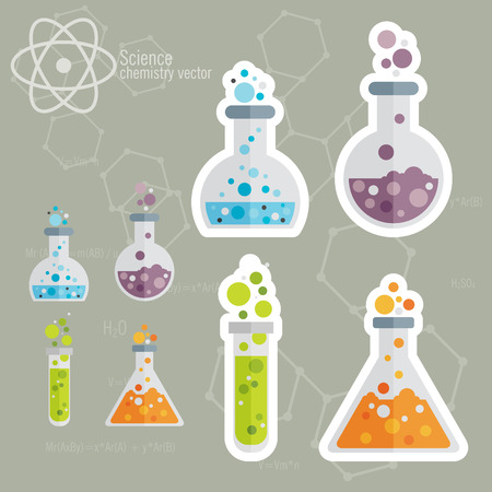 Chemical Icon set with background  イラスト・ベクター素材