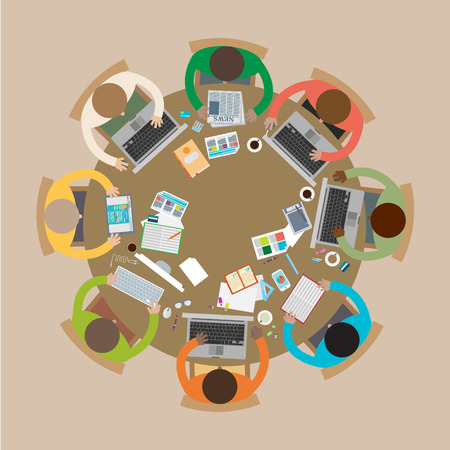 roundtable: Business meeting, brainstorming in flat style. Illustration