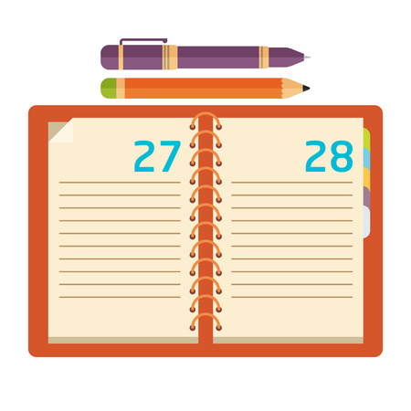 Notebook with pen and pencil. Flat design. Vector