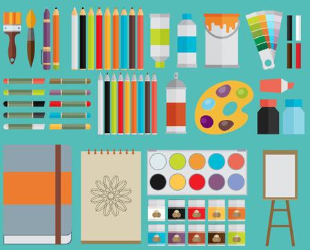 Gekleurde platte ontwerp vector illustratie pictogrammen instellen van kunst levert, kunst instrumenten om te schilderen, tekenen, schetsen op een heldere stijlvolle achtergrond Stock Illustratie