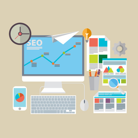 Flat design modern vector illustration icons set of website SEO optimization, programming process and web analytics elements. Ilustração