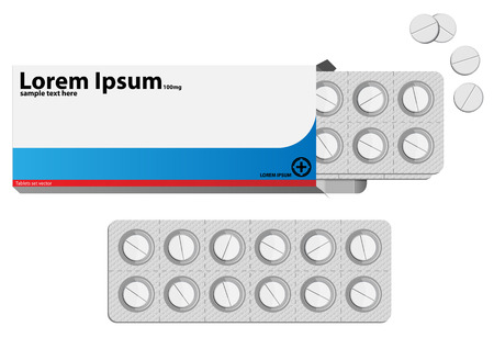 Pills in a blister pack. Vector illustration Vector
