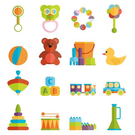 oso caricatura: Juguetes para beb�s icono plana conjunto de vectores Vectores