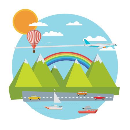 Travel banner. Flat vector illustration. Vector