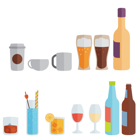 Drinks. Alcoholic and non-alcoholic. Flat design Vector
