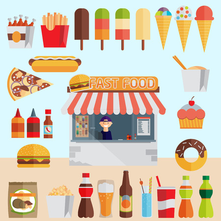 Fast food with stall. Flat vector