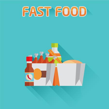 chinese fast food: Icono plana comida r�pida china Vectores