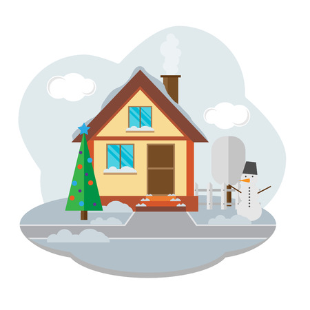 snug: vector landscape with beautiful house. Winter