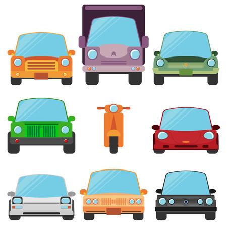 car front: Modern Flat Design Symbols Stylish Retro Car Icons Illustration