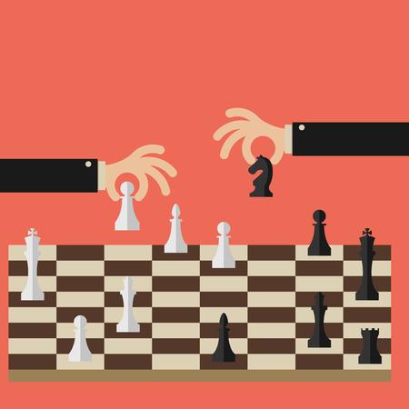 평면 디자인 현대 벡터 일러스트 레이 션 체스를 두 비즈니스 사람들이 개념을 전략적 위치 및 전술 장기 성공 계획 또는 목표를 찾으려고 시도하십시