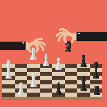 Flat design modern vector illustration concept of two business people playing chess and try to find strategic position and tactic for long-term success plan or goal.