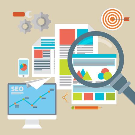 Flat vector illustration of web analytics information and development website statistic - vector illustration