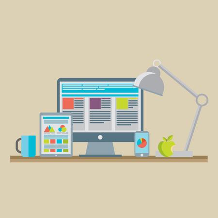 digital tablet: Flat design vector illustration of mobile and desktop website design development process with minimalistic modern digital tablet, desktop computer and smartphone on designer workplace in trendy color.