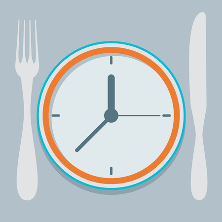eating habits: Colored flat design vector illustration concept for dieting, planned way of eating, nutrition regime