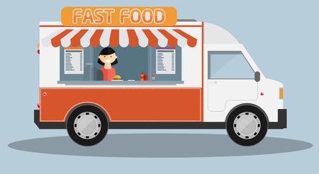 Mobile food car. Vector Illustration