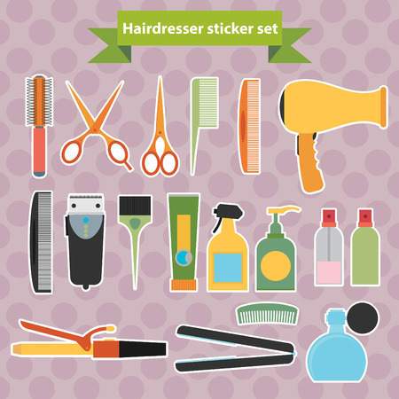 Hairdressing stickers. Flat design Vector
