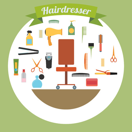 hairstylist: Hairdresser decorative set with beauty haircut accessories and equipment with hairstylist chair in the middle vector illustration