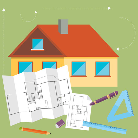 draftsman: Set of vector architect concept design flat line Illustration