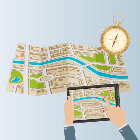 세계지도. 모바일 GPS 네비게이션. 태블릿 PC 및 휴대 전화. 일러스트