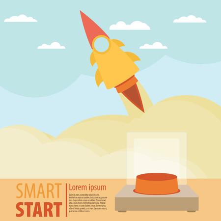 rocket launch: Lanzamiento de Rocket retro de fondo. Cartel de la vendimia. Puesta en marcha. Ilustraci�n vectorial
