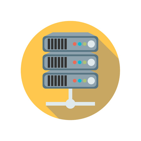 Flat style with long shadows, server vector icon illustration. Illustration