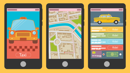 Vector illustration of mobile app for booking taxi