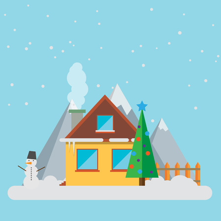 christmas accessories: New Year Landscape Christmas Accessories Icons Greeting Card Elements Trendy Modern Flat Design Template Vector Illustration
