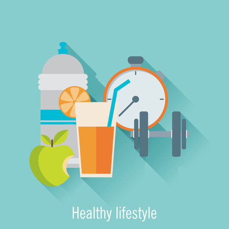 Healthy lifestyle flat illustration. Food, water and sport