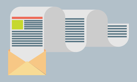 distributed: Flat design modern vector illustration concept of regularly distributed news publication via e-mail with some topics of interest to its subscribers. Illustration