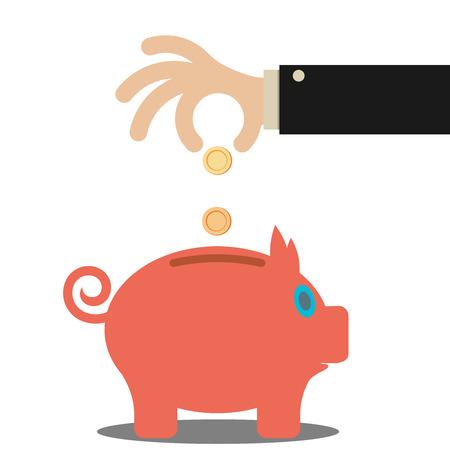 business hand: business hand saving money in piggy bank