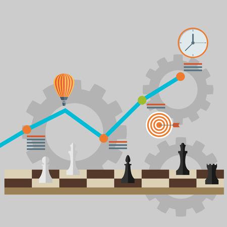 strategic advantage: Set of flat design vector illustration concepts for strategy planning, successful business and emerging market Illustration