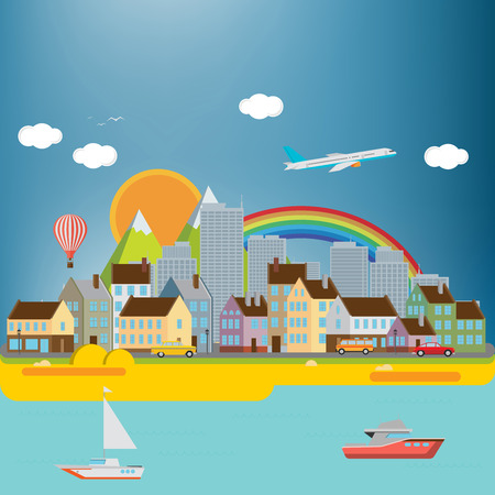 city background: City background with sea Illustration