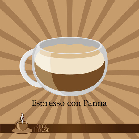 The coffee cup on a brown background. Ilustração