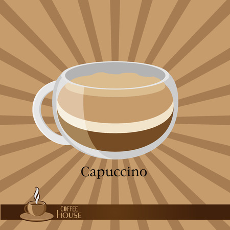 sip: The coffee cup on a brown background. Illustration