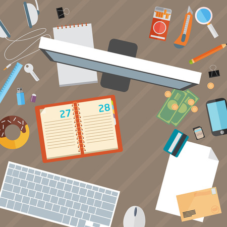 overhead view: Office desk flat mock up template with flat stylish icons Illustration