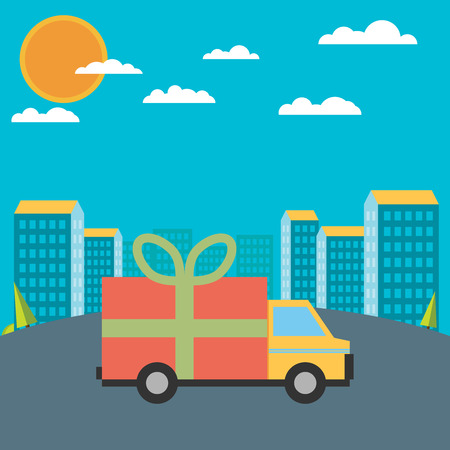 gratis: Vector free delivery concept in flat style - illustration for banner for website - transportation truck with a gift