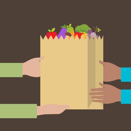 식료품 배달 플랫 디자인 다채로운 벡터 일러스트 레이 션 개념 배경에 고립