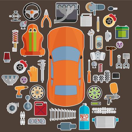 예비의: 자동차 부품의 큰 집합입니다. 조정 및 현대화. 일러스트
