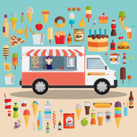 food: Flat design style modern vector illustration icons set of wagon full of tasty summer food, meals, drinks and fruits. Isolated on stylish color background