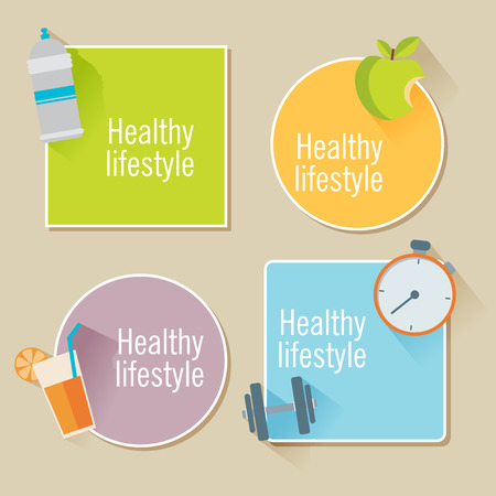 Healthy lifestyle flat illustration stickers. Food, water and sport Vector