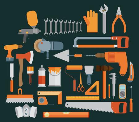 herramientas de construccion: Reparaci�n y construcci�n de la ilustraci�n con los iconos de herramientas de trabajo.