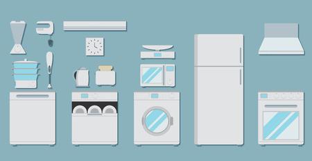 Icônes plats pour les appareils de cuisine. Ensemble d'icônes plates gris avec des appareils ménagers pour la cuisine sur fond bleu.
