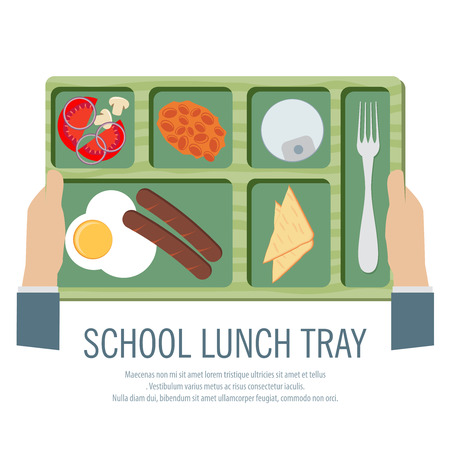 school lunch: Hand Holding A School Lunch Tray Vector Illustration
