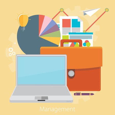 office stuff: Flat design modern vector illustration concept of poster on business management or finance workflow theme. Isolated on stylish color background. Illustration