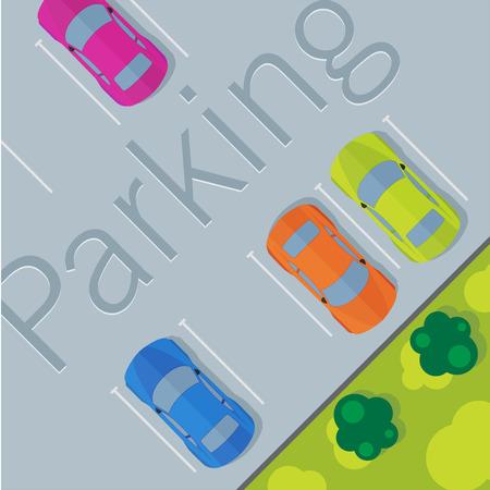 Bovenaanzicht van een auto geparkeerd. Stock Illustratie