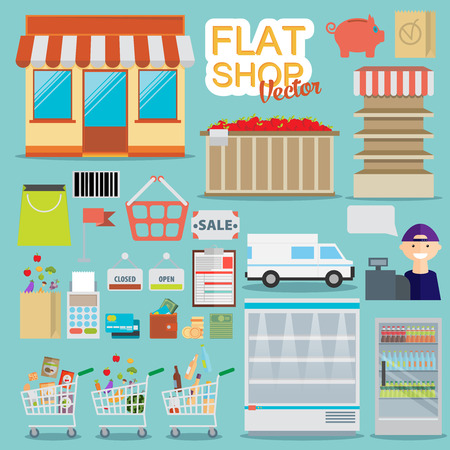 grocery shelves: Supermarket online website concept with food assortment, opening hours and payment options icons illustration vector Illustration
